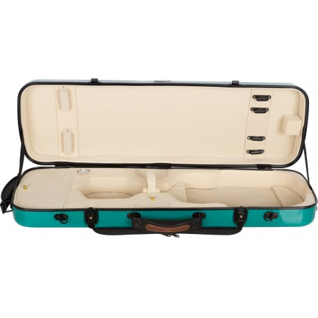 Oblong violin case Fiberglass Oblong 4/4 M-case Green Sea - Cream