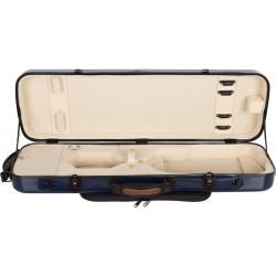 Violinkoffer Geigenkasten Glasfaser Oblong 4/4 M-case Marineblau - Creme