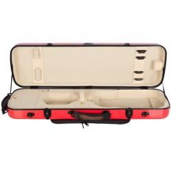 Violinkoffer Geigenkasten Glasfaser Oblong 4/4 M-case Rot - Creme