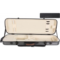 Oblong violin case Fiberglass Oblong 4/4 M-case Black Point - Cream
