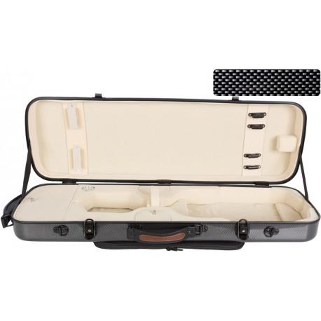 Oblong violin case Fiberglass Oblong 4/4 M-case Black Point - Cream