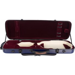 Violinkoffer Geigenkasten Glasfaser Oblong 4/4 M-case Marineblau - Weinrot
