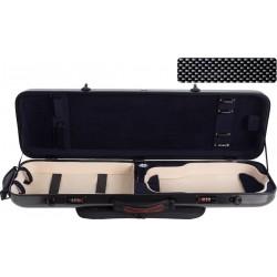 Étui en fibre de verre Fiberglass pour violon Safe Oblong 4/4 M-case Noir Point - Bleu Marine