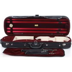 Geigenkoffer Holz Classic 4/4 M-case Schwarz - Weinrot