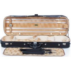 Geigenkoffer Holz Classic 4/4 M-case Schwarz - Honiggelb Ringstruktur ver.1