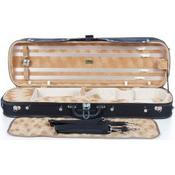 Oblong Violin Hard Case Classic 4/4 M-case Black - Honey Pattern ver.1
