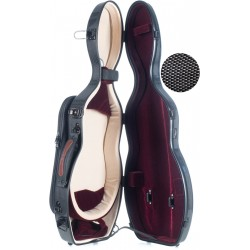 Shaped violin case Fiberglass UltraLight 4/4 M-case Black Point - Burgundy